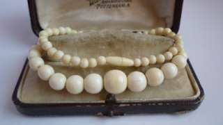 Antique/Art Deco/Edwardian Chinese Carved Ox Bone Bead Necklace