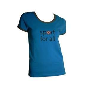 Women Red Heart Sport Shirt 8686 Size XL (Blue Color