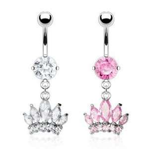 Pink Cubic Zirconia Prong Set Belly Ring with Gem Paved Crown and Sea
