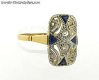 Art Deco 18K Yellow Gold Diamonds Sapphires Plat. Ring