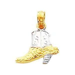 14K Two Tone Gold Cowboy Boot Pendant Jewelry