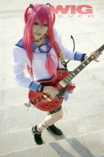 Angel Beats Yui Cosplay Long Magenta Straight Hair Wig
