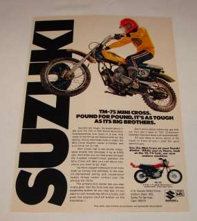 1974 Suzuki TM 75 Mini Cross dirt bike ad page