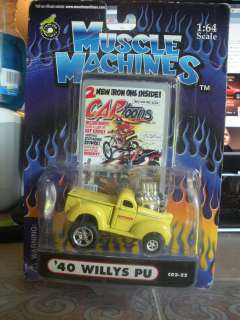 64 1940 WILLYS PICK UP CAR TOONS YELLOW BY MUSCLE MACHINES Mi55