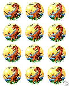DINOSAURS Edible CUPCAKE Image Icing Toppers Birthday