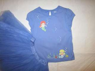 Gymboree MERMAID MAGIC blue TULLE Skirt Outfit 4 5 Seashell