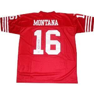 com Joe Montana Autographed Replica Red 49ers Jersey Sports Football