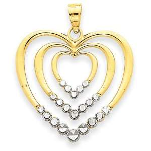 14k Gold Two tone Diamond cut Triple Inset Hearts Pendant