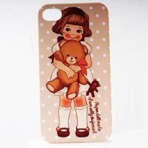 Wheat Dot Double Bear Painting Vintage Pinup Girl iPhone 4