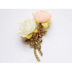 Rhinestone Long Stem Cream Pink Cloth Rose Flower Brooch Pin Jewelry