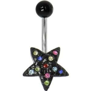 Multi Color Cubic Zirconia Black Star Belly Ring Jewelry