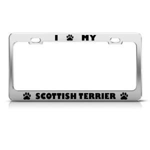 Scottish Terrier Dog Dogs Chrome Metal license plate frame Tag Holder