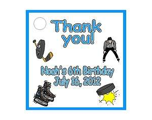 Ice Hockey Sport Birthday Favors Gift Tags Square Personalized