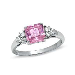 Princess Cut Pink Cubic Zirconia Fashion Ring in Sterling