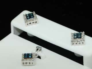LADIES WHITE GOLD BLUE DIAMOND STUD EARRING PENDANT SET