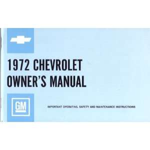 1972 CHEVROLET IMPALA FULL SIZE Owners Manual Guide