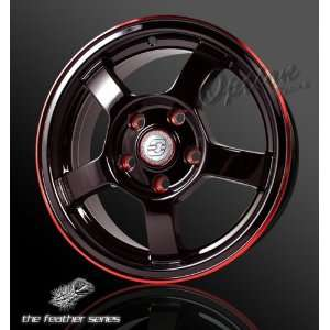 WHEELS RIM 5 SPOKE / 5 LUG BLACK & RED LIP / OFFSET 35MM Automotive