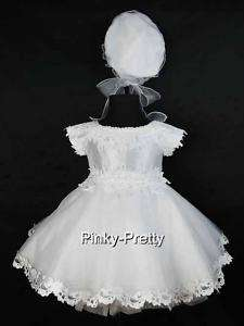 White Baby Flower Girls Party Christening Dress 1T 2T