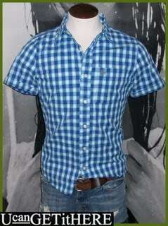 Mens Abercrombie & Fitch Upper Hudson Blue Plaid Shirt S NWT.