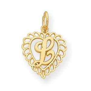 14k Initial L Charm   Measures 22.3x15mm   JewelryWeb