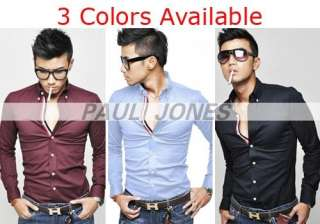 Business Mens Longsleeve Slim fit style casual fashion dress home
