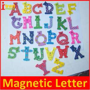 Wooden cute magnetic Letter kid alphabet fridge magnets