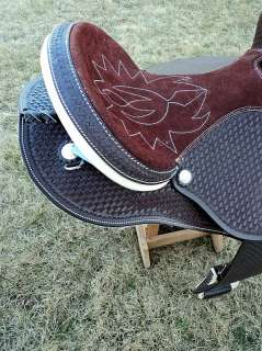 17 BARREL RACING HEAVY DUTY SADDLE FULLY EMBOSSED DARK BROWN COLOR
