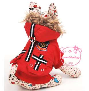 Captain Thick Padded Coat Hoodie Jacket Dog Clothes Apparel 5