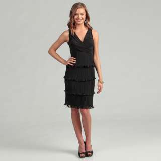 Patra Ltd Womens Black Pleat Chiffon Tiered Dress