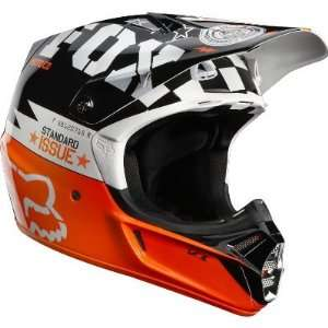 Fox Racing V3 Covert Helmet [White/Black] L Automotive