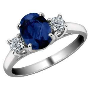 Blue Sapphire Ring with Diamonds 1.59 Carat (ctw) in 14K