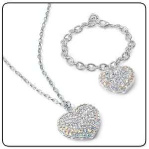 Super Bling Crystal Heart Necklace and Bracelet Jewelry Set for Girls