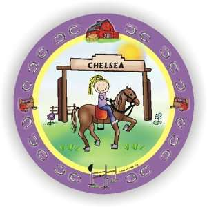 Pen At Hand Stick Figures   Melamine Plates (Horseback