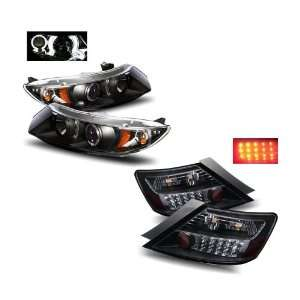 06 08 Honda Civic 2Dr Black Projector Headlights + LED Tail Lights
