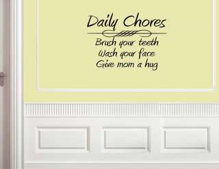 DAILY CHORES Wall Decals Quotes Art Vinyl Words Sayings