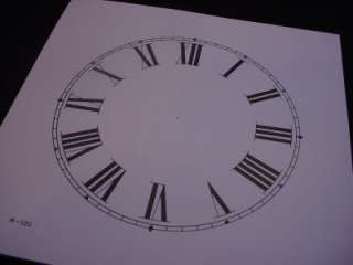 Replacement 5 White and Black Paper Roman Numeral Clock Dial AG