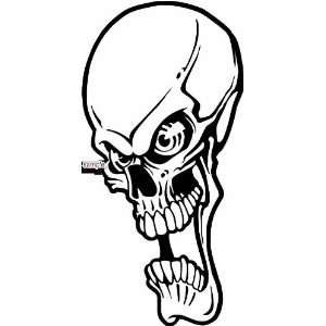 LONG FACE SKULL 10 WHITE VINYL DECAL STICKER