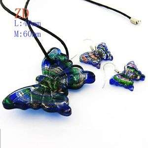 Lampwork Murano Glass Necklace Pendant Earrings set New Jewelry