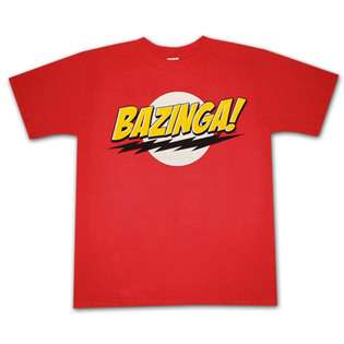 Big Bang Theory Bazinga Logo Red Graphic Tee Shirt  Clothing Mens