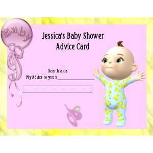 Baby Shower Game Advice Card Girl Personalized 25 pack