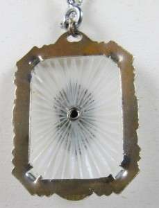 Vtg Large Art Deco Camphor Glass Pendant Sterling Necklace