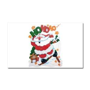Car Magnet 20 x 12 Merry Christmas Santa Claus Skiing Ho