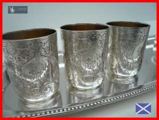 Set of Imperial Russian Silver Vodka Shot Glasses~1894~With Base Tray