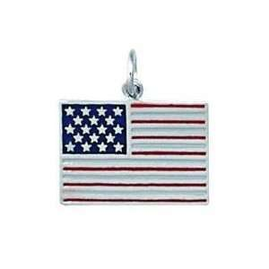 Sterling Silver Enamel American Flag Charm Jewelry