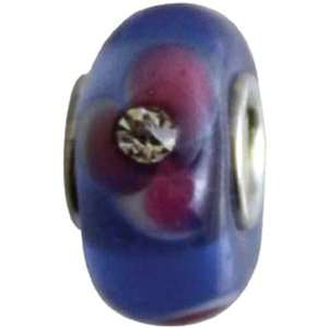 Blu Glass Bead Blue Crystal Pink Flower   691243 Patio, Lawn & Garden