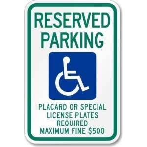 Reserved Parking Placard Or Special License Plates
