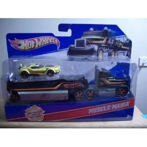 Wheels Semi Truck w/Trailer and HW Muscle Mania Car (Toy) Toys