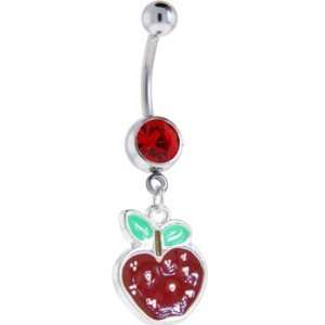 Ruby Red Gem Red Apple Dangle Belly Ring Jewelry