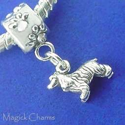 Sterling Silver .925 COCKER SPANIEL Dog EUROPEAN Euro Bead CHARM