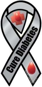 CURE DIABETES Awareness Gray Car Ribbon Magnet /  FOR 2ND